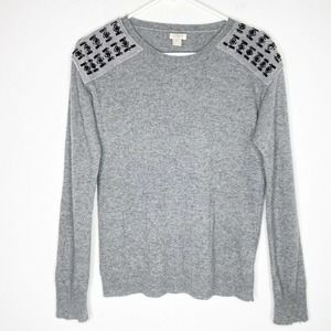 J Crew Warmspun Jeweled Pullover Sweater Top XS